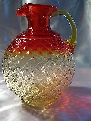 Amberina Pitcher Diamond Pattern Footed Red Orange Yellow Vintage