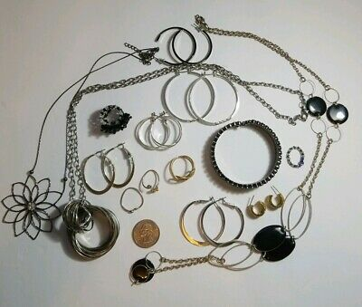Junk Drawer Jewelry Lot Silver And Gold Tones Earrings Necklace Rings Bracelet
