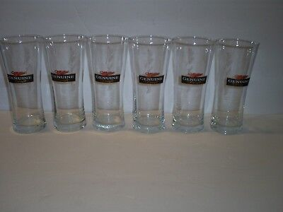 SIX Miller Genuine Draft MGD 16oz Glasses. Etched Frederick Miller Signature