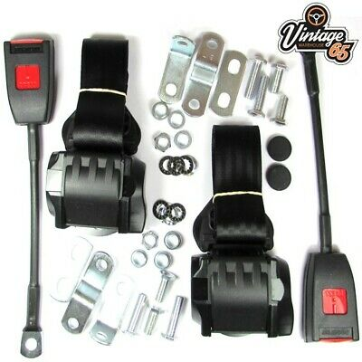 Classic Ford Front Pair Fully Automatic Inertia Black Seat Belt Kits E Approved