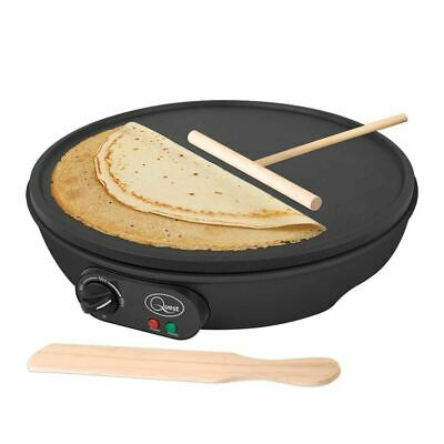 "12"" Pancake & Crepe Maker 1000W Non Stick Hot Plate Wood Spatula Batter Spreader"