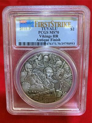 Tuvalu 2018-P $2 Vikings 2oz .9999 silver High Relief Antique Finish PCGS MS-70