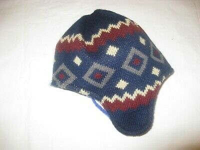 Girl's maroon/navy/grey/white patterned unisex HAT with ear muffs 7-9 years