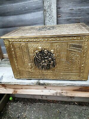 Vintage Embossed Scuttle Brass and Wood Coal Log Storage Box Fire Fireplace