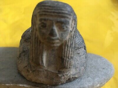 Ancient Egyptian Scarab Beetle with goddess Head Artifact