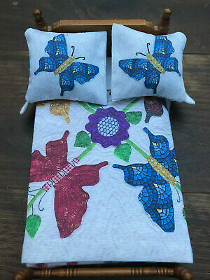 Miniature Dollhouse Bedspread Comforter 2 Pillows 1:12 scale butterflies