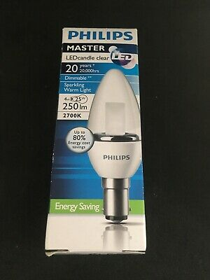PHILIPS MASTER 4W Dimmable LED Candle BC 2700k Packs of