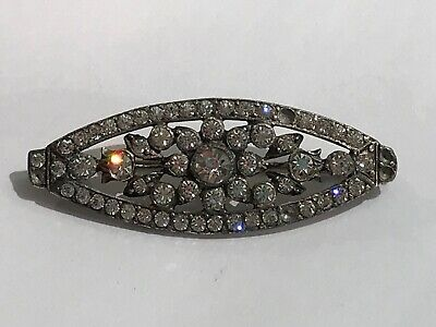 Gorgeous Antique  Silver Diamond Paste Oval  Brooch