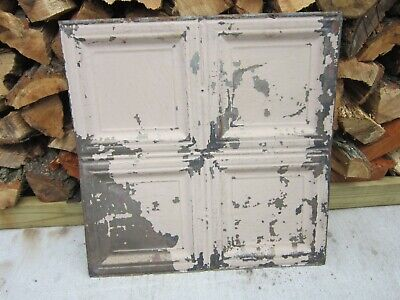 "Antique Vtg Tin Metal Ceiling Tile 24""x24"" Architectural Reclaimed Salvage"
