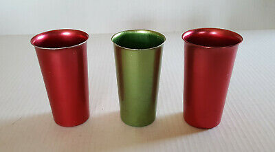 Vintage METAL TUMBLER Set Of 3 MID CENTURY MODERN Holiday Red & Green XMAS