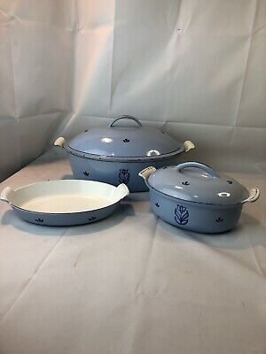 Vintage Dru Holland Blue Tulip Dutch Oven Casserole Au Gratin Cast Iron