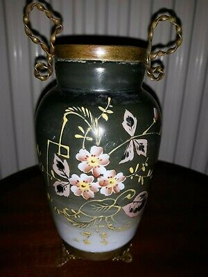 FINE Antique French Opaline Vase Metal mount Hand Painted 19th century
