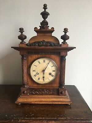 Victorian walnut cased chiming clock - no couriers