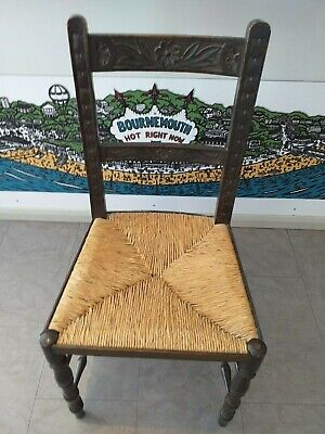 ENGLISH OAK Victorian chair CARVED circa 1890 provincial 19th century RUSH SEAT