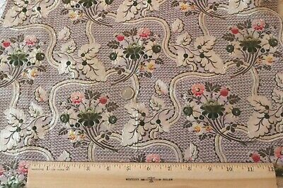 "Antique French 18thC (1770) Lavender Floral Silk Brocade~L-18""X W-17"""
