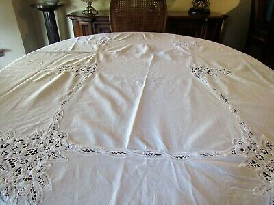 VTG Cotton Battenburg Lace Tablecloth + 12 Napkins 64 x 96  (T31)