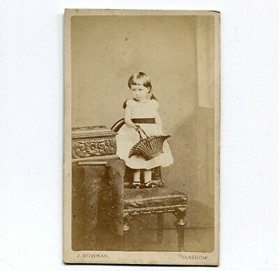 c1878 CDV Photo of Little Girl Holding a Large Wicker Basket