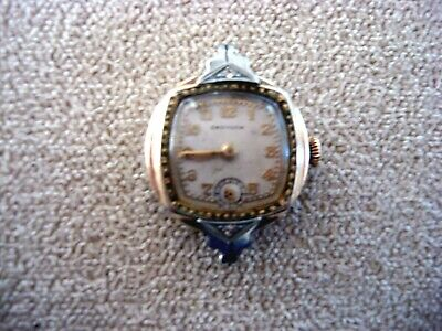 VINTAGE 1930'S CROYDON ART DECO WOMEN'S 7j  GF WATCH W/ SMALL DIAMONDS RUNS