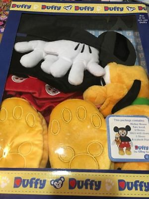 "Disney Parks Duffy Bear 17"" Mickey Mouse Costume Outfit with Pluto Plush Box Set"