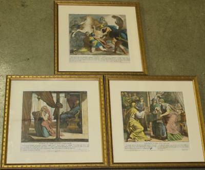 ANTIQUE 19th century THREE RUSSIAN ILLUSTRATED BIBLICAL VERSES , FRAMED