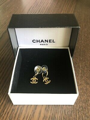 Authentic Rare Vintage Chanel CC Logo Gold Round Dangled Stud Earrings