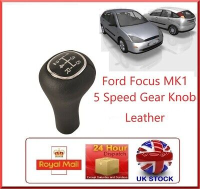 For FORD FOCUS 98-05 GEAR SHIFT KNOB 5 SPEED BLACK LEATHER 1069044 XS4R-7217-AA