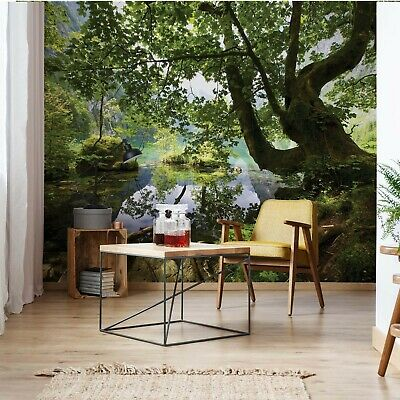 Forest Trees Lake Photo Wallpaper Wall Mural Fleece Easy-Install Paper