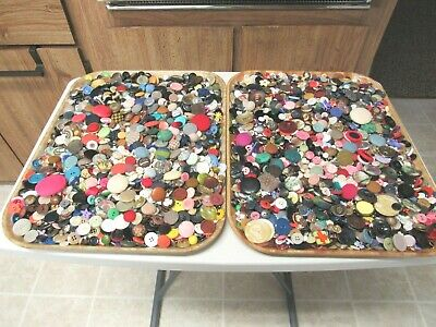Huge Lot Of Sewing Buttons Vintage To Modern 12 Pounds Lbs Cloth Covered Mop