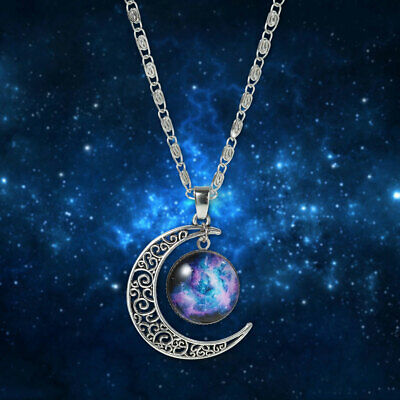 Galaxy Universe Crescent Moon Glass Cabochon Pendant+ Necklace+G Pouch(WS084050)