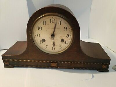 Vintage Northern Goldsmith Company Chime Mantel Clock - Napoleon Hat Shaped