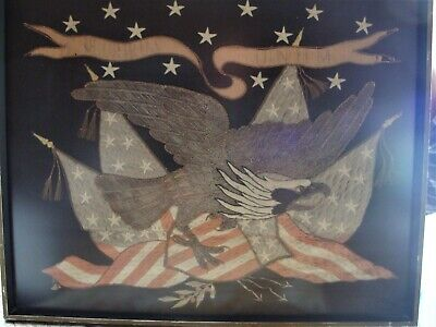 Antique American Flag embroidered Eagle 13 Stars USA
