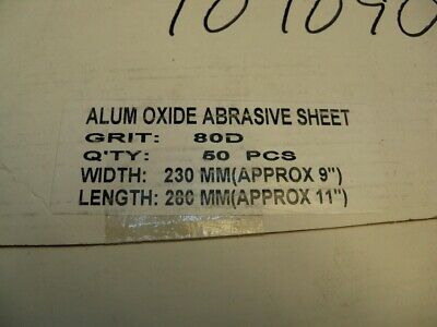 "Alum Oxide Waterproof 80D Grit 9"" x 11"" Sheets, MSC Industrial Supply Pack of 50"