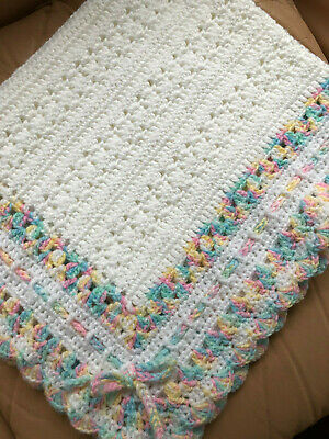 Handmade Crochet Baby Blanket GIFT -Girl Pram/Car WHITE with Pastel Rainbow TRIM