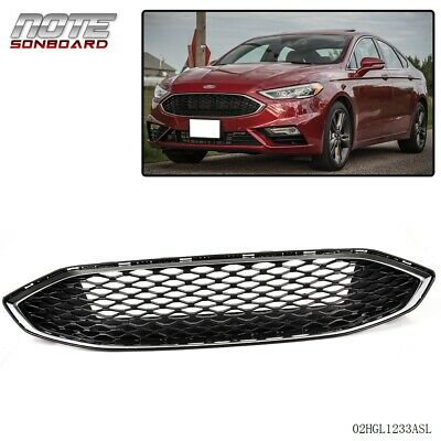 for Ford Fusion 2017+ Gloss Black w/ Chrome Front Bumper Honeycomb Mesh Grill