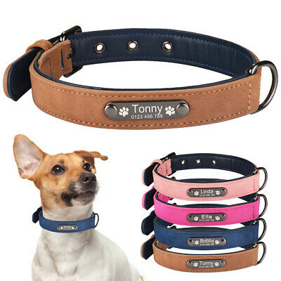 Leather Personalized Dog Collar Free Engraved Tag Small Medium Large Pet ID Name