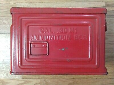 WWII US Army Ammo Can CAL 30 M1 CROWN Ammunition Box - painted red