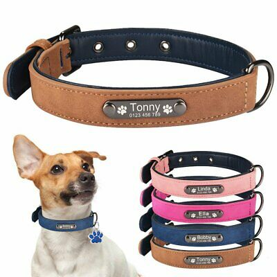 Soft Leather Personalized Dog Collar & Tag Free Engraved Large Small Pet Name ID