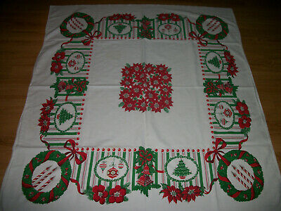 "Vintage Christmas Tablecloth Wreaths, Candles,Bells,Shiny Brites, 46"" X 51"""