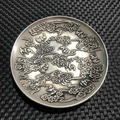 China OLD Tibetan silver Copper Carving cloud  plates