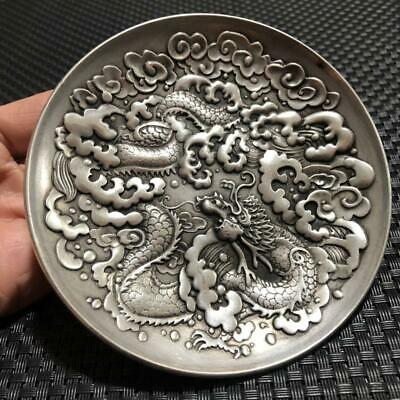 China OLD Tibetan silver Copper dragon  plates
