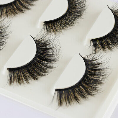 3 Pairs 3D Soft Mink Hair False Eyelashes Wispy Thick Long Fluttered