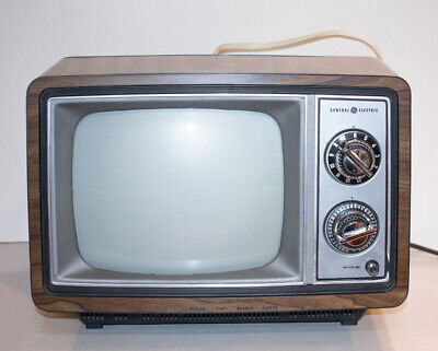 "Vintage GE 10AB3406W TV 10"" Portable Wood Grain Cabinet CRT 1982 Retro, Tested"