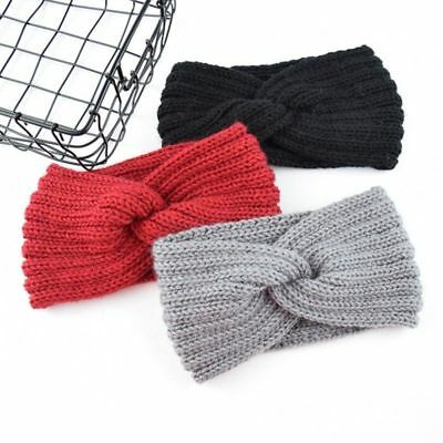 Women Ladies Winter Wool Cross Crochet Knitted Wool Headband Hairbands SStvo