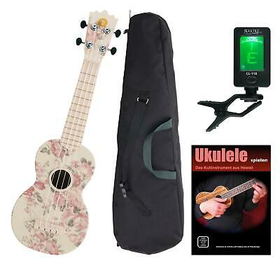 Ukulele Soprano Uke Guitar Kit 21'' 4 Cordes Housse Accordeur Fleur de Rose