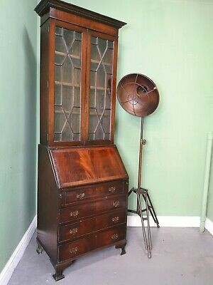 An Antique 20th Century Flame Mahogany Bureau Bookcase Desk ~Delivery Available~