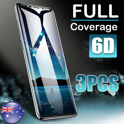 3x Samsung Galaxy S8 S9 S10 6D Full Coverage Tempered Glass Screen Protector New