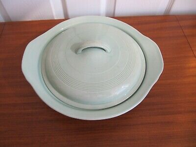 "Vintage Green Woods Ware ""Beryl"" Lidded Serving Tureen Dish"