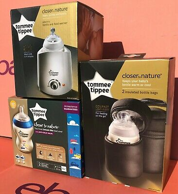 Tommee Tippee Baby Gift Bundle Electric Warmer, Insulated Bags & 260ml Bottles