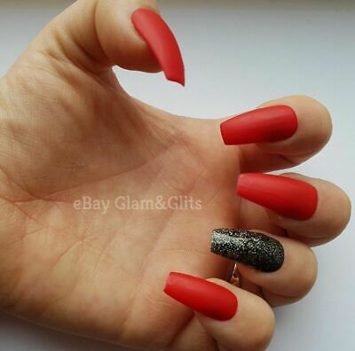 24 Hand Painted Gel False Nails - Bright Red Matte Coffin Stiletto Square Oval