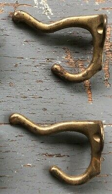 """Antique Vintage Coat Hooks  Brass Plated Cast Iron, Lot of 2 ( 3 x 2"""")"""